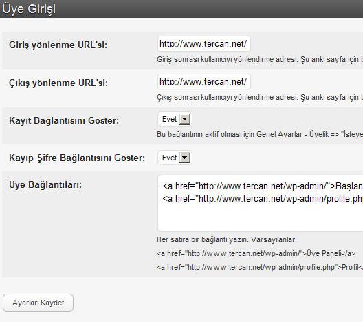 WordPress Türkçe üye giriş eklentisi Sidebar Login