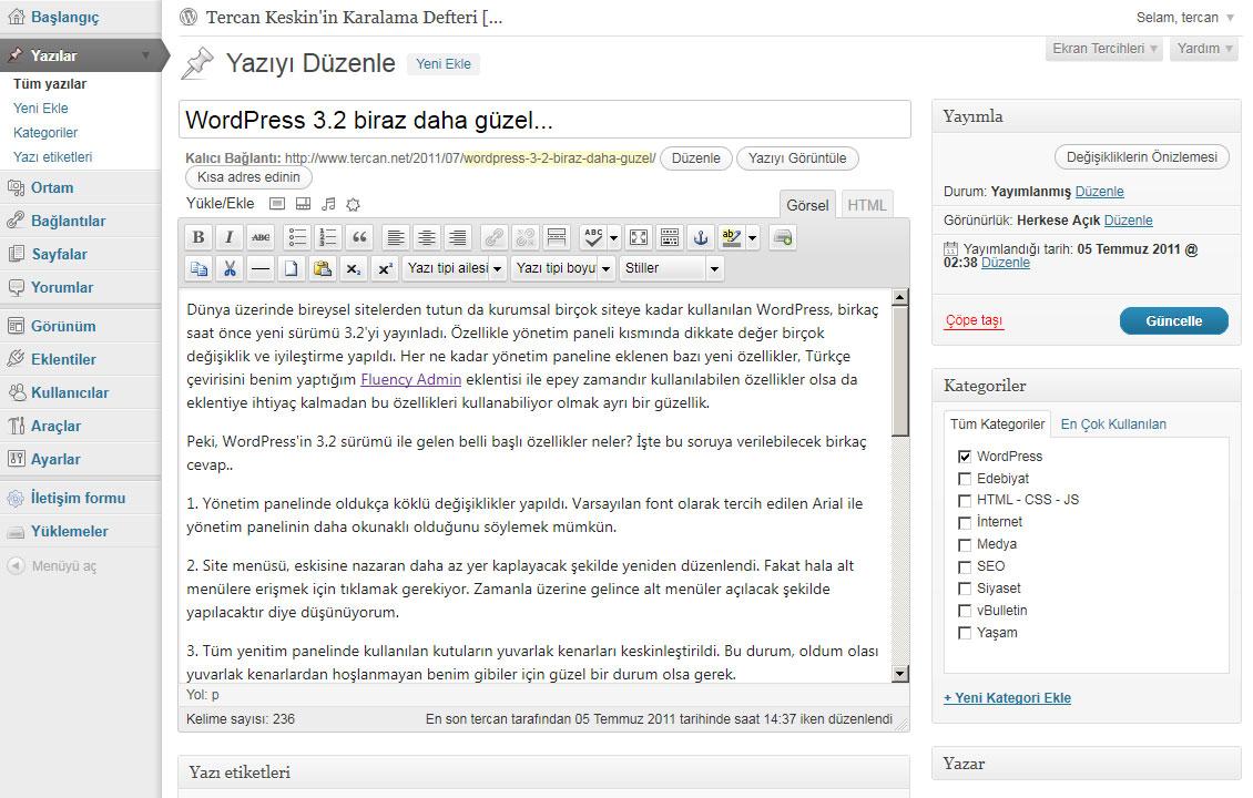 WordPress 3.2 Yazı düzenleme paneli (Edit post)