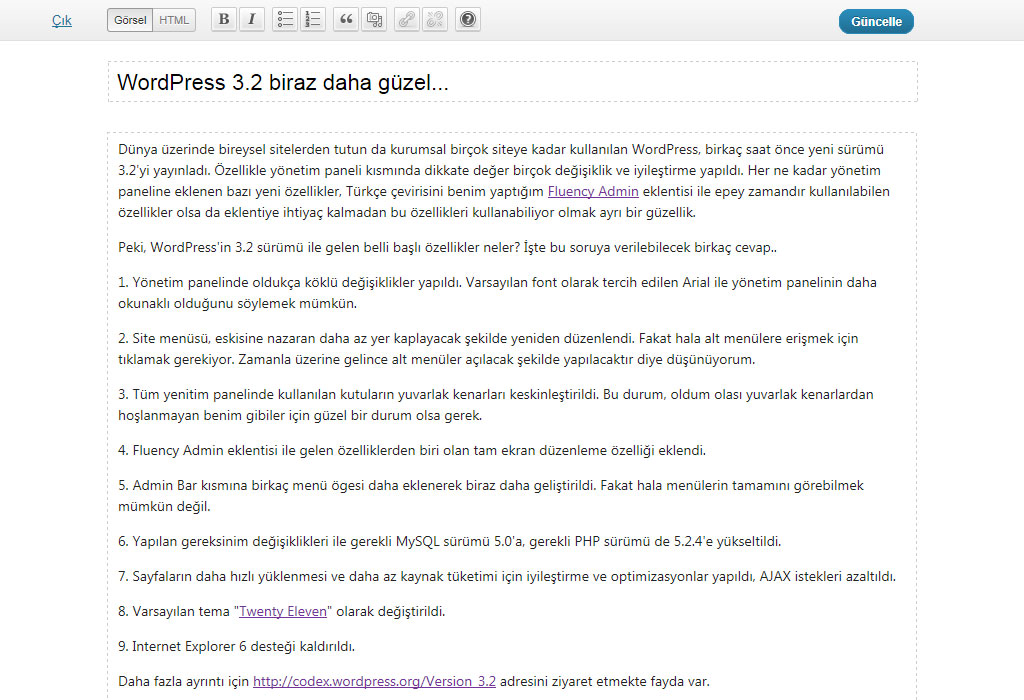 WordPress 3.2 Tam ekran modu (Full screen mode)