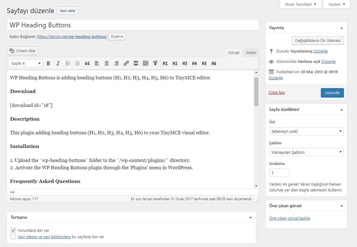 WordPress başlık butonları eklentisi WP Heading Buttons