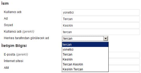 WordPress kullanıcı adı ve görülecek ad