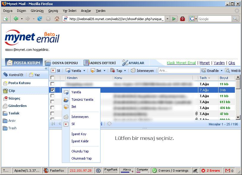 Mynet de ajaxlı e-posta hizmetine özendi