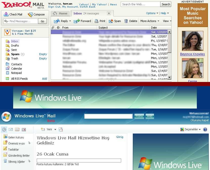 Windows Live Mail Giriş Ekranı